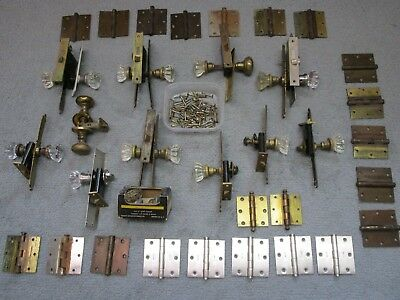 Glass Knob (11) Vintage Antique Door Knobs Hardware, Plates & (22) Brass HINGES
