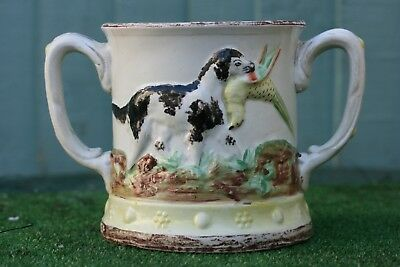 SUPERB EARLY 19thC STAFFORDSHIRE TWIN HANDLED HUNTING TANKARD WITH FROG c1820s