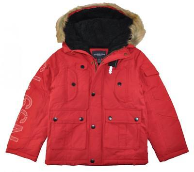London Fog Big Boys Red Heavyweight Parka Coat Size 8 10/12 14/16