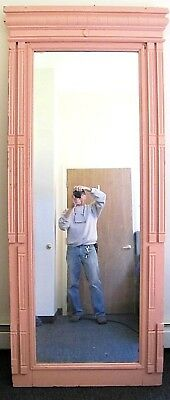 Antique Victorian Arts & Crafts Eastlake Oak Pier Hall Wall Mirror. 7ft 8in Tall
