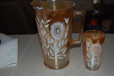 Depression Glass floragold Beverage Pitcher with one glass. Federal ??