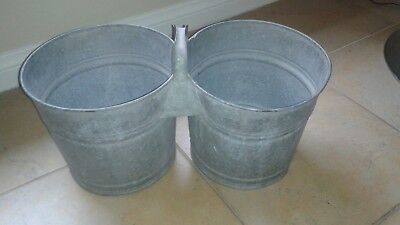Vintage Twin Double Wheeling Galvanized Buckets Pails #1082 Cans Garbage