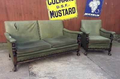 Antique Carved Wooden Framed Sofa & Armchair With Original Horse Hair Filling!!