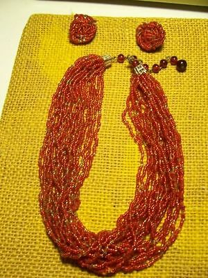 VINTAGE(1950's??) BEADED CHOKER NECKLACE AND EARRINGS-EARLY NATIVE AMERICAN