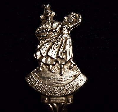 "Vintage SQUARE DANCERS - FOLK DANCING 4.75"" Silverplate SOUVENIR SPOON Holland"