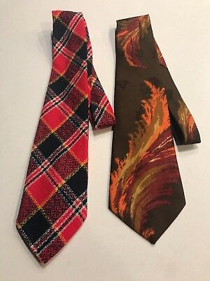 Lot of Two (2) Vintage 1960's 70's Retro Mod Wide Men's Ties