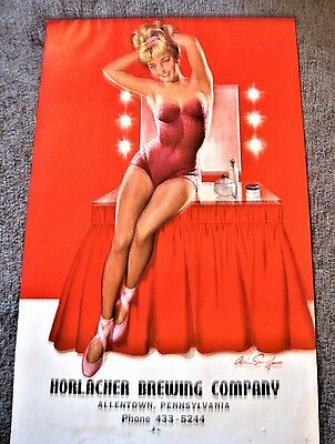 Vintage Horlacher Beer Brewing Co Pin Up Girl Calendar 1966 Samoff Allentown Pa