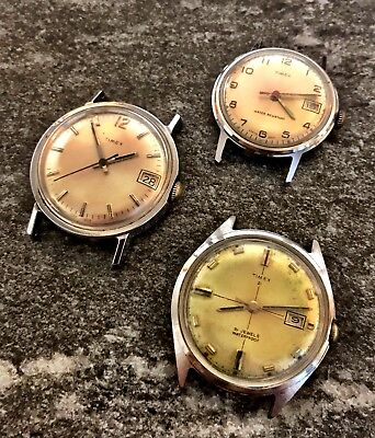 Vintage Timex Retro Lot Of 3 Watches For Parts Repair Need Serviced W/ 21 Model