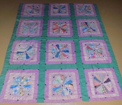 Vintage White And Purple Floral Hand Made Quilt Large