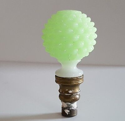 Antique newel post stair finial Opaline Clambroth Hobnail Glass Green Victorian