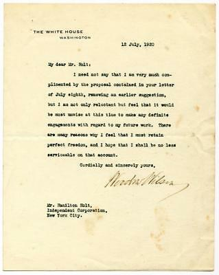 Woodrow Wilson TLS declining invitation to join liberal magazine afte... Lot 212