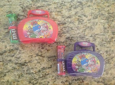 Lot of 2 M&M's MINIS 2003 GALERIE Plastic Purple & Red Lunchbox' s Candy Tube