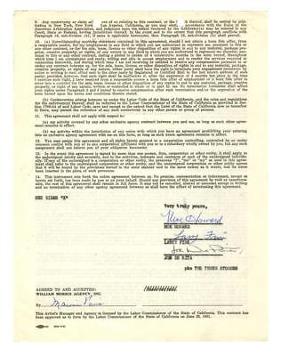 1964 Three Stooges Triple-Signed William Morris Contract: Howard, Fin... Lot 194