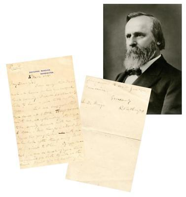 Rutherford B. Hayes rare ALS as president Lot 67