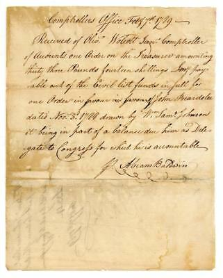 Abraham Baldwin signed receipt from Comptrollers Office, 1789 Lot 8