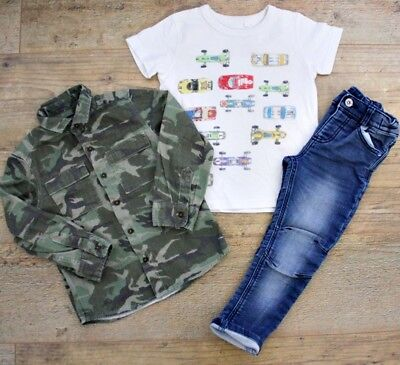 Next Boys Small Bundle Outfit Camo Jacket Shirt Blue Jeans Car T-Shirt 3-4 Y