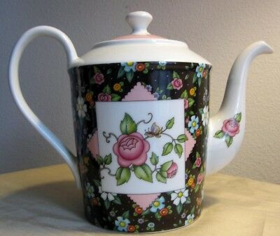 ~~Pink Roses and Flowers ~~RARE~~Large Teapot~~MARY ENGELBREIT~~2002