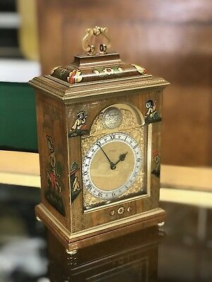 Very Rare Imhof Swiss Mantle Clock Chinoiserie Wood Painted Case W/ Alarm