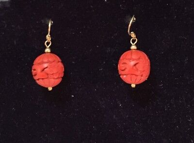 Vintage Pair of Hand Carved Chinese Cinnabar Drop Dangle Earrings