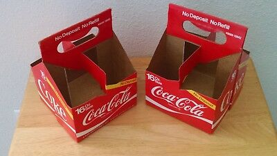 Two Vintage Coca-Cola 4 Pack Carriers for 16 oz Bottles (used)