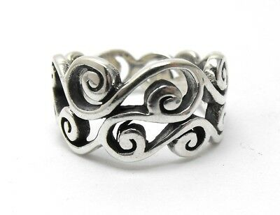 Brighton Sterling Silver Filigree Scroll Ring, Size 9, 925,  7.7 Grams