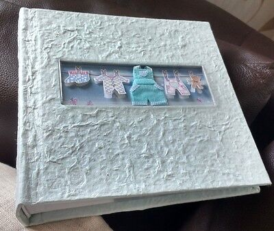 Great Gift Idea - Handmade Looking East Pastel Blue/green Baby Photo Album
