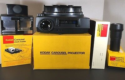 Kodak Carousel 760H Slide Projector, 2 Lenses, Slide Tray, Stack Loader, Tested