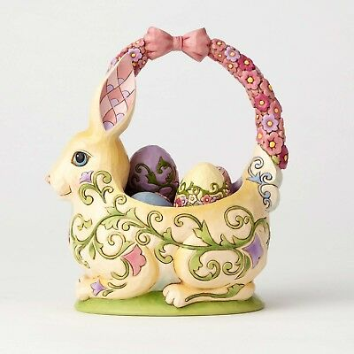 Jim Shore Heartwood Creek 13th Annual Basket w/ 4 Eggs Honey of a Bunny 4058987