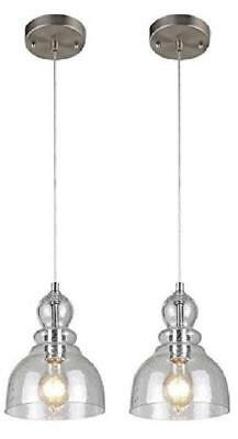 2 Pcs Industrial One Light Adjustable Pendant With Handblown Clear Seeded Glass