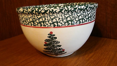 "FURIO Spongewear ITALY 8"" Mixing Bowl Serving Green Christmas Tree HOLIDAY USED"