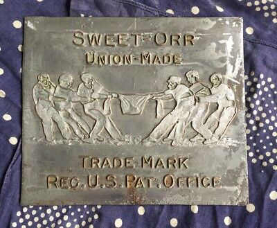 Vintage Sweet-Orr Union Made Overalls Workwear Metal Sign Plaque Advertising