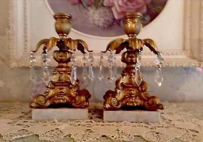 STUNNING Vtg PAIR OF HEAVY BRASS, MARBLE AND CRYSTAL  CANDLE HOLDERS