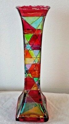 VTG Antique DUE ZETA VENEZIA Hand Painted ART DECO VASE Made in ITALY Art Glass