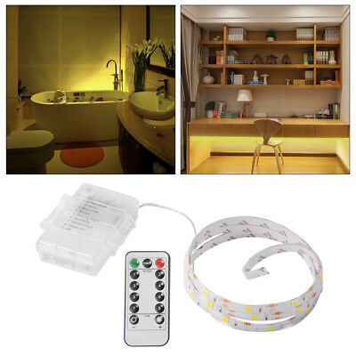 Battery Operated 0.5-2M Long 30LED/Meter Strip Light Remote Dimmable Warm White
