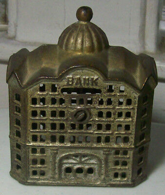 Antique Beautiful Figural Cast Iron Bank in the Shape of a Building-Nice-LOOK!
