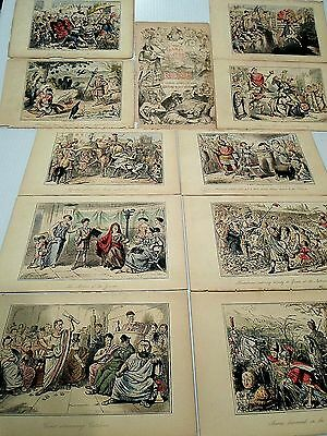 """10 Antique, 1848 Hand Colored Steel Engravings From """"the Comic History  Of Rome"""""""