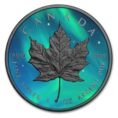 Canada 2016 5$ Maple Leaf 1 oz Ruthenium Northern Lights Edition Silver Coin