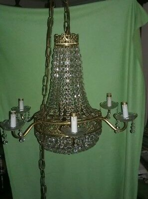 Antique Vtg French Brass Basket Bag Crystal  Chandelier 9 Light Lamp