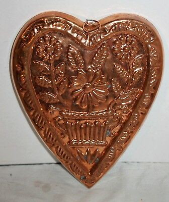 Vintage Heart Shaped Mold Copper Floral Embossed Wall Decor
