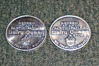 Lot of 2 Dairy Queen Fast Food Restaurant Diners Vintage Trade Tokens