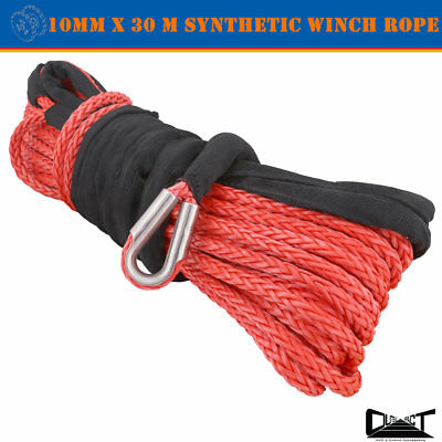 10MM x 30M Red Winch Rope Synthetic strap 4WD AVT Boat Recovery Cable Fairlead