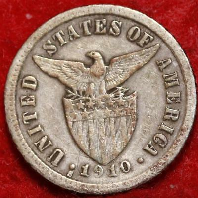 1910 Philippines 10 Centavos Silver Foreign Coin