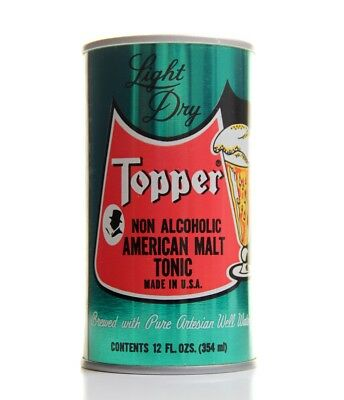 Vtg TOPPER MALT TONIC Steel Pull Tab Empty Non Alcoholic Beer Can USA