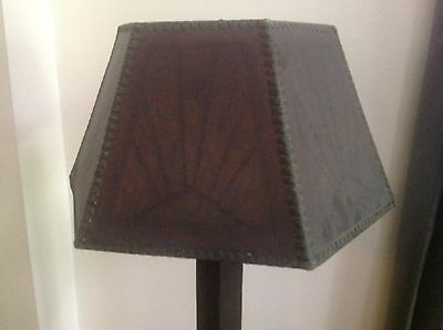Antique Arts & Crafts Misson Style 6 Panel Amber Mica Lamp Shade