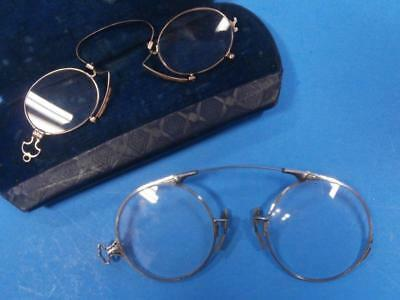2 Pair Antique Pince Nez Eye Glasses, 1 Gold Filled