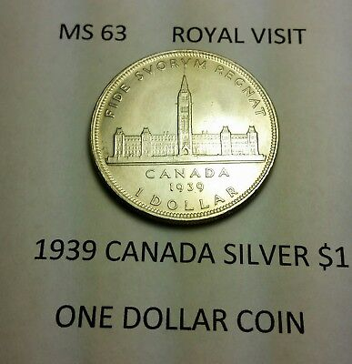 Canada 1939 1 Dollar Silver King George VI Brilliant Uncirculated