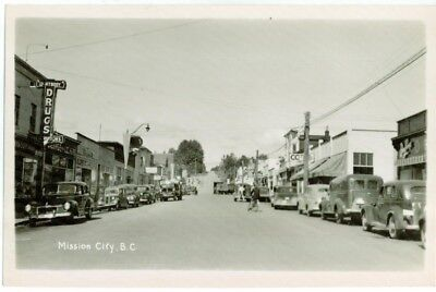 MISSION CITY - B.C. Main street taken from the west - RPPC -