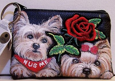 hand painted Yorkie Yorkshire Terrier dog vegan leather top zip coin purse