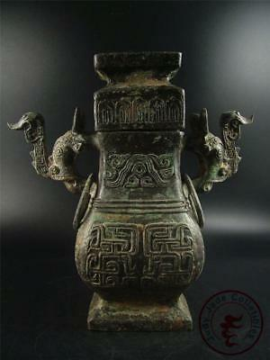 Very Large Antique Old Chinese Bronze Made Pot Vase Statue Collectibles w/ Cover