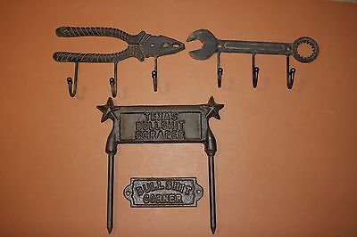 (4) Barn Rustic Tools Coat Hat Hooks, Farther Day's Gift Set, Cast Iron Tools